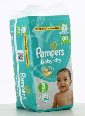 Pampers Couches Baby-Dry Taille 3 - 116 Couches