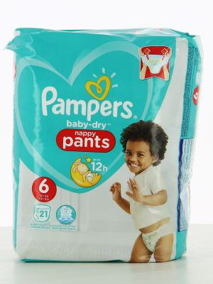Pampers Couches Baby-Dry Pants Taille 6 - 21 Couches