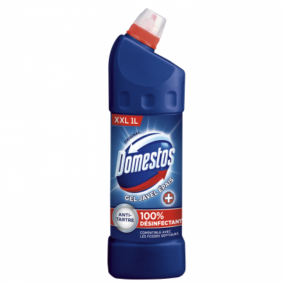 Pack de 12 Domestos Gel Nettoyant Wc Javel 100% Désinfectant Original 1l