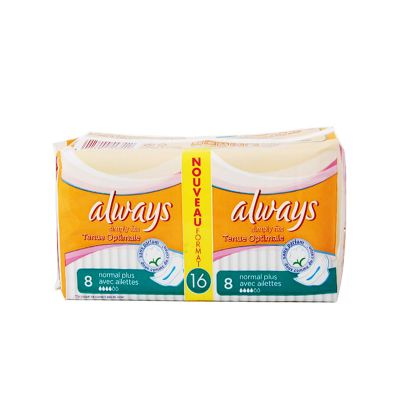 Always Simply Fits Normal Plus Avec Ailettes 16 Serviettes Hygiéniques