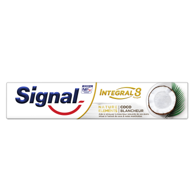 Pack de 24 Signal Integral 8 Dentifrice Nature Elements Coco Blancheur 75ml
