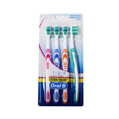 Oral-B 1.2.3 Classic Care 4 Brosses A Dents Medium