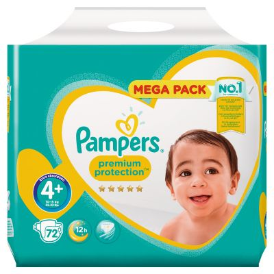 Pampers Couches Premium Protection Taille 4+ - 72 Couches