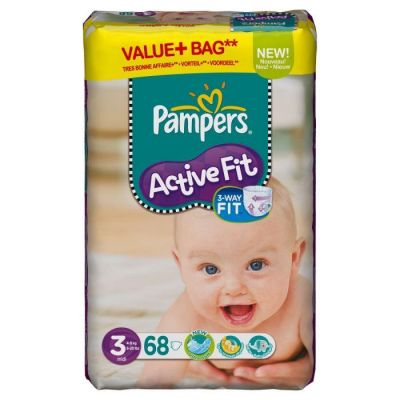 Pampers Couches Active Fit Taille 3 X 68 Couches