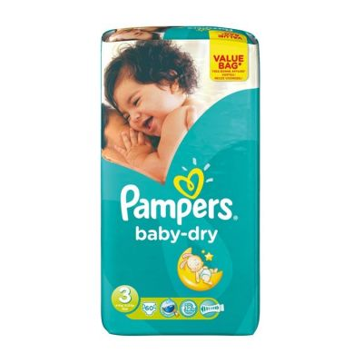 Pack de 2Pampers Couches Baby Dry Taille 3 - 60 Couches(120couches)