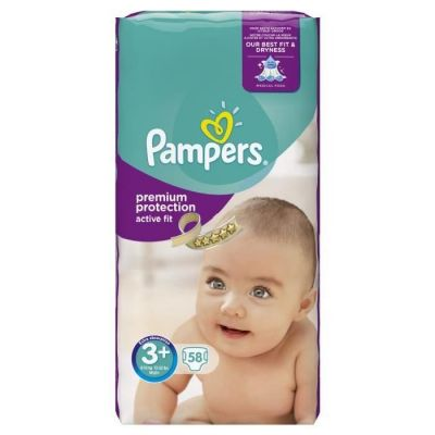 Pack de 2Pampers Couches Active Fit Taille 3+ - 58 Couches(116couches)