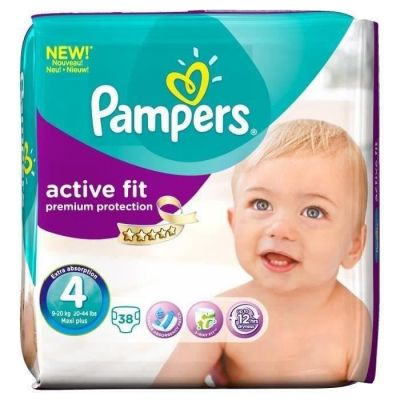 Pampers Active Fit Taille 4+ (9-20KG) 38 Couches
