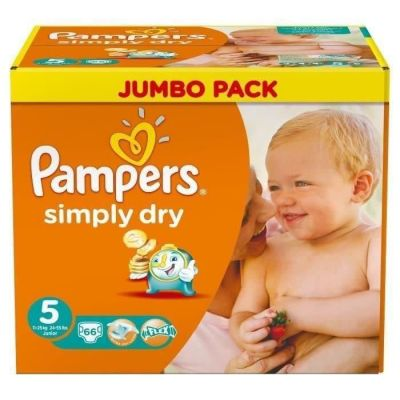 Pampers Couches Simply Dry Taille 5  - 66 Couches