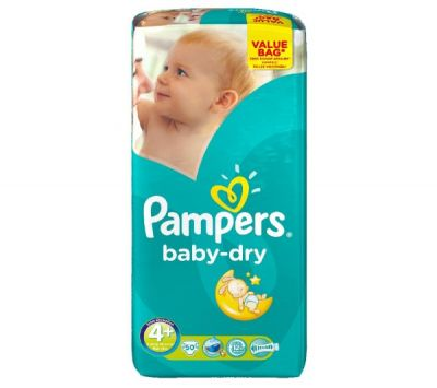 Pampers Couches Baby Dry Taille 4+ - 50 Couches