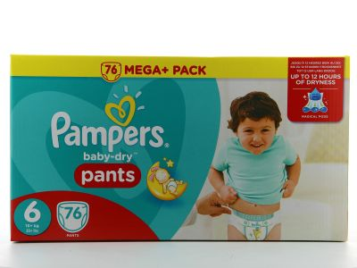 Pampers Couches Baby-Dry Pants Taille 6 - 76