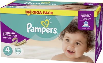 Pampers Couches Active Fit Taille 4 - 104 Couches