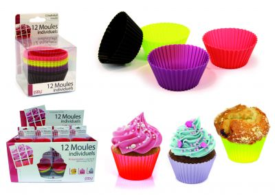 """12 Moules Muffin Individuels En Silicone """"Easy Make"""""""