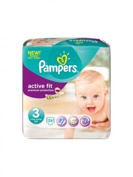 Pack de 4 Pampers Couches Active Fit Taille 3 - 26 Couches(104couches)