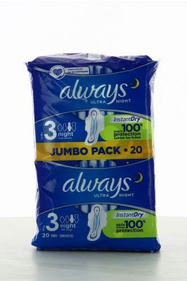 Always ultra serviettes night jumbo pack x 20