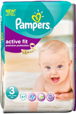 Pack de 4*Pampers Couches Active Fit Taille 3 - 47 Couches (188couches)