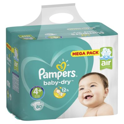 Pampers Couches Baby Dry Taille 4+ - 80 Couches