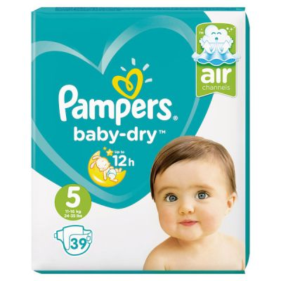 Pampers Couches Baby Dry Taille 5 - 39 Couches
