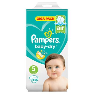 Pampers Couches Baby Dry Taille 5 - 108 Couches - Giga Pack