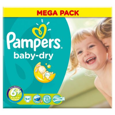 Pampers Baby Dry Taille 6+ - 64 couches