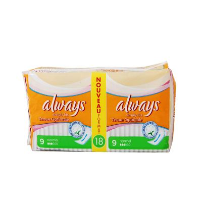 Always Simply Fits Normal Sans Ailettes 18 Serviettes Hygiéniques