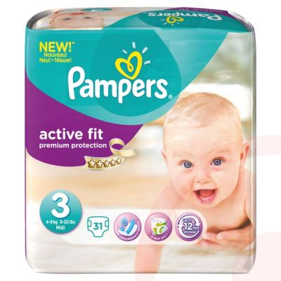 Pampers Couches Active Fit Taille 3 - 31 Couches