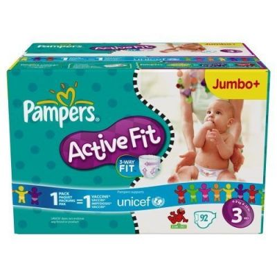 Pampers Couches Active Fit Taille 3 - 92 Couches