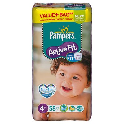 Pampers Active Fit Taille 4 (7-18KG) 58 couches