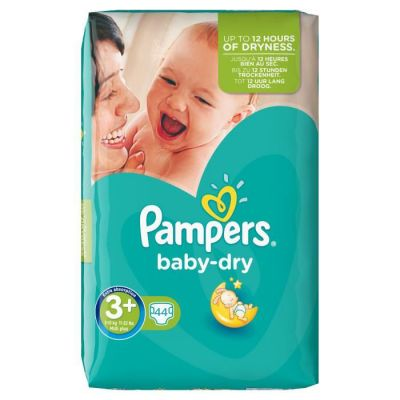 Pampers Couches Baby Dry Taille 3+ - 44 Couches