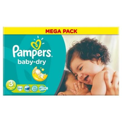 Pampers Couches Baby Dry Taille 3 - 104 Couches