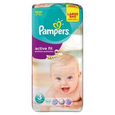 Pampers Couches Active Fit Taille 3 - 62 couches