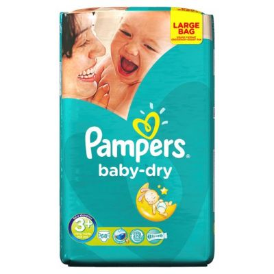 Pampers Couches Baby Dry Taille 3+ - 68 Couches