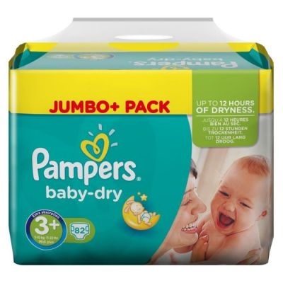 Pampers Couches Baby Dry Taille 3+ - 82 Couches