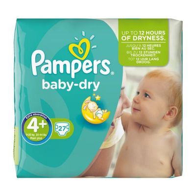 Pampers Couches Baby Dry Taille 4+ - 27 Couches