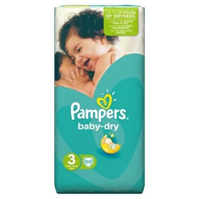 Pampers Couches Baby Dry Taille 3 - 50 Couches
