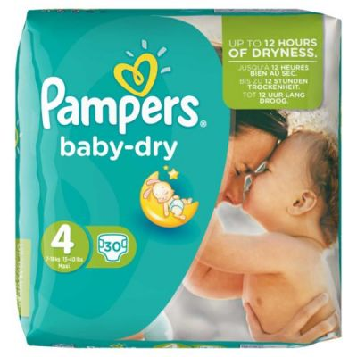 Pampers Couches Baby Dry Taille 4 Maxi - 30 Couches