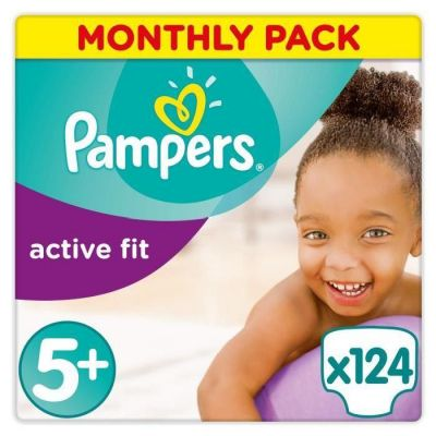 Pampers Couches Active Fit Taille 5+ - 124 Couches