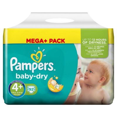 Pampers Couches Baby Dry Taille 4+ - 92 Couches