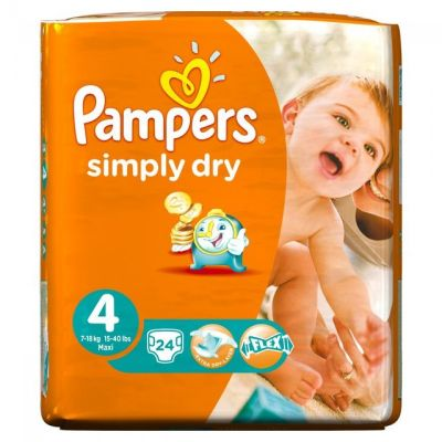 Pampers Couches Simply Dry Taille 4 - 24 Couches