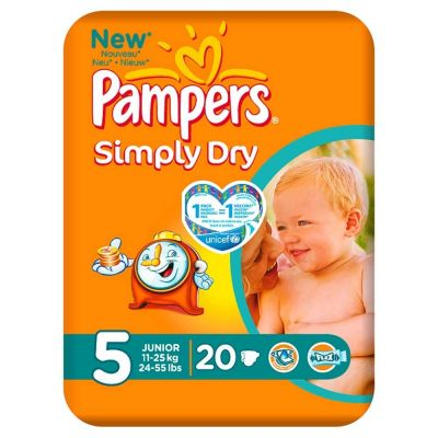 Pampers Couches Simply Dry Taille 5 - 20 Couches