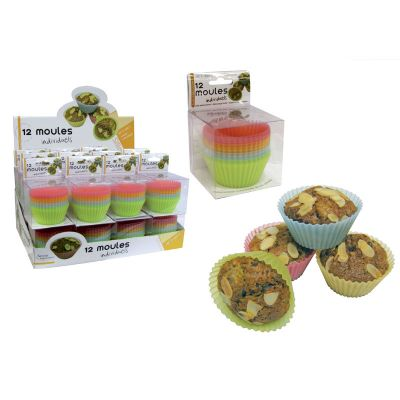 "12 Moules Muffin En Silicone ""Saveur & Dégustation"""