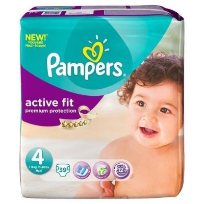 PAMPERS Active Fit Taille 4 7-18 kg Géant x39 couches