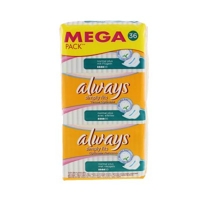 Always Simply Fits Normal Plus Avec Ailettes 36 Serviettes Hygiéniques
