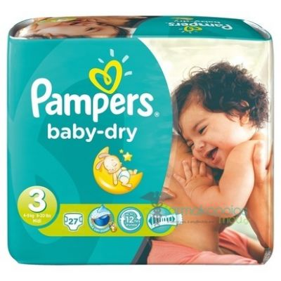 Pampers Baby Dry Taille 3 (4-9KG) 27 Couches