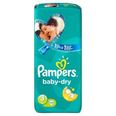 Pampers Baby Dry Taille 3 (4-9KG) 48 Couches