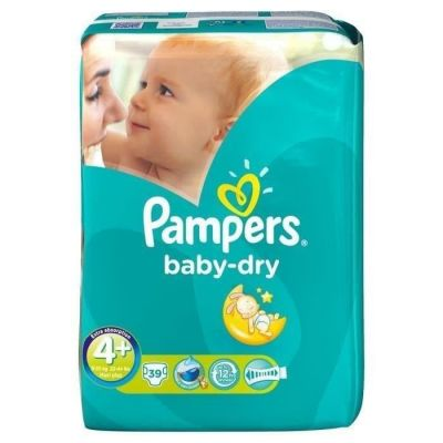 Pampers Baby Dry Taille 4+ (9-20KG) 39 Couches