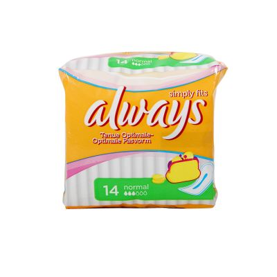 Always Simply Fits Normal Sans Ailettes 14 Serviettes Hygiéniques