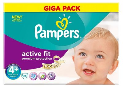 Pampers Couches Active Fit Taille 4+ -  94 Couches