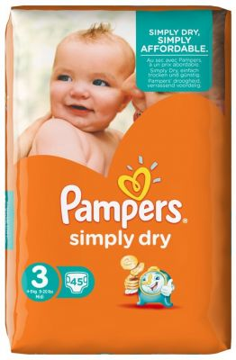 Pampers Couches Simply Dry Taille 3 - 45 Couches