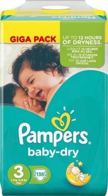 Pampers Couches Baby Dry Taille 3 - 136 Couches